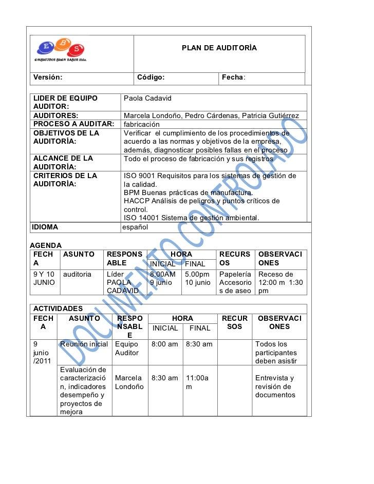 PLAN DE AUDITORÍAVersión:                         Código:                  Fecha:LIDER DE EQUIPO              Paola Cadavi...