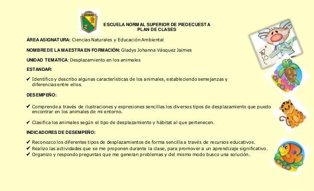 ESCUELA NORMAL SUPERIOR DE PIEDECUESTA  PLAN DE CLASES  ÁREA ASIGNATURA: Ciencias Naturales y Educación Ambiental  NOMBRE ...