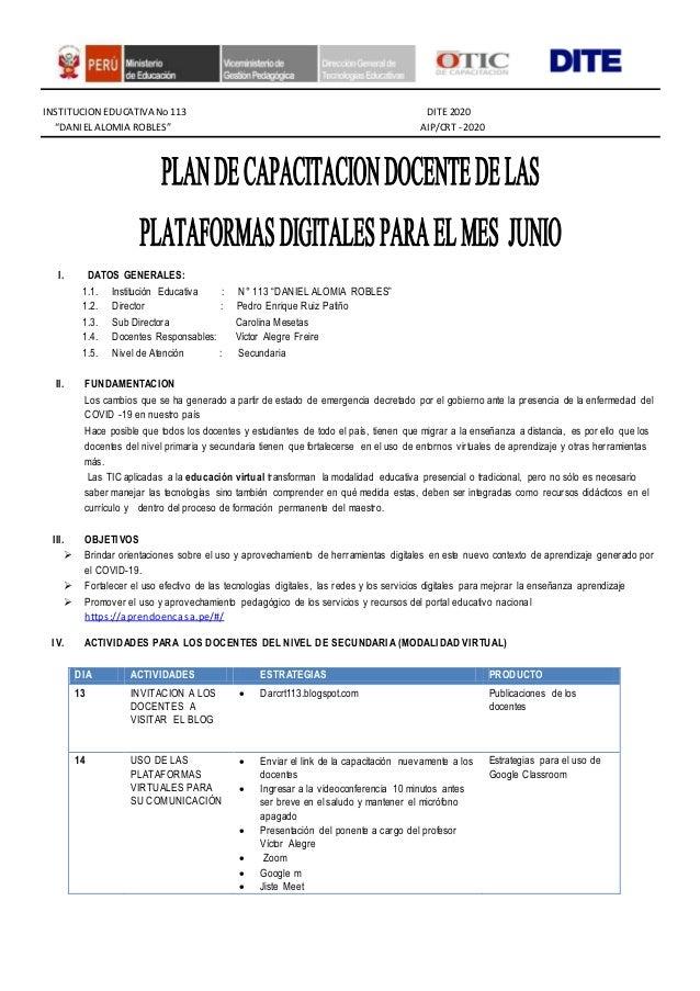 """INSTITUCION EDUCATIVANo 113 DITE 2020 """"DANIEL ALOMIA ROBLES"""" AIP/CRT - 2020 I. DATOS GENERALES: 1.1. Institución Educativa..."""