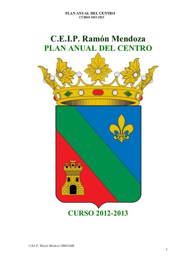 PLAN ANUAL DEL CENTRO                                      CURSO 2012-2013                C.E.I.P. Ramón Mendoza          ...