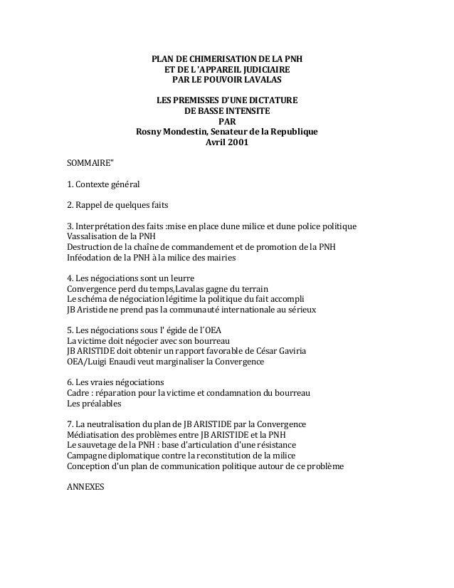 PLAN  DE  CHIMERISATION  DE  LA  PNH   ET  DE  L  'APPAREIL  JUDICIAIRE   PAR  LE  POUVOIR  LA...