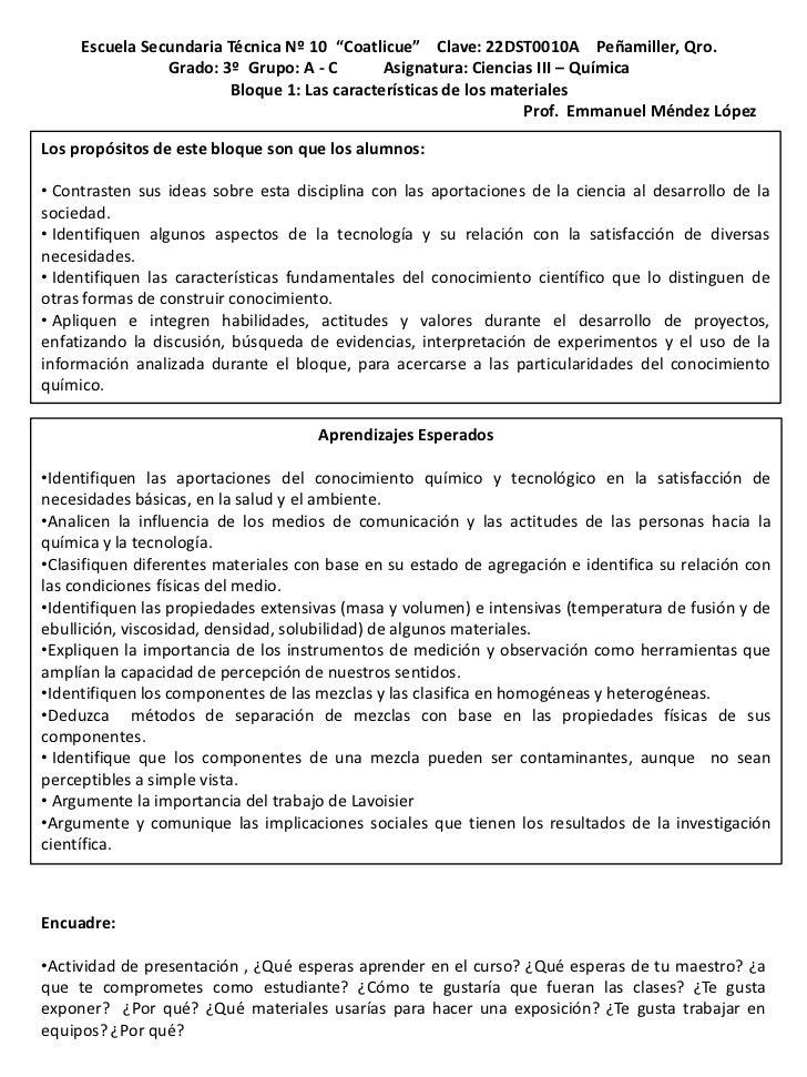 "Escuela Secundaria Técnica Nº 10 ""Coatlicue"" Clave: 22DST0010A Peñamiller, Qro.                Grado: 3º Grupo: A - C     ..."
