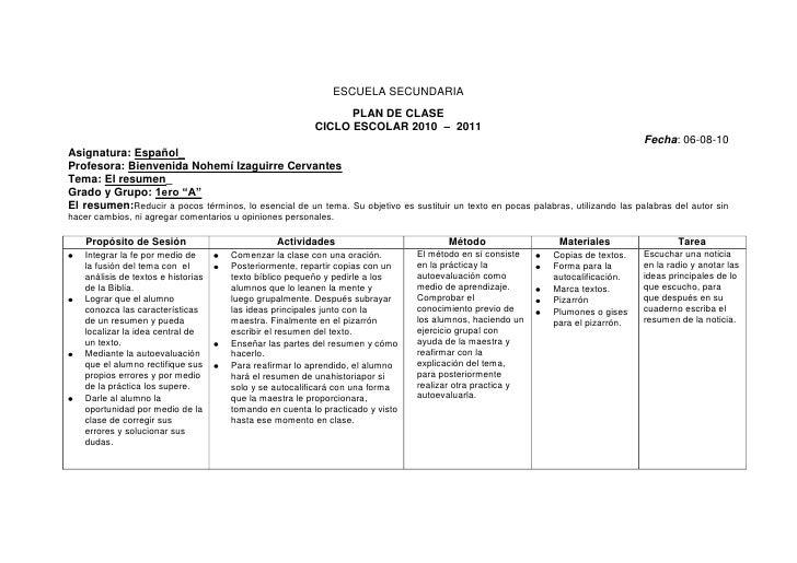 ESCUELA SECUNDARIA<br />PLAN DE CLASE <br />CICLO ESCOLAR 2010  –  2011                                                   ...