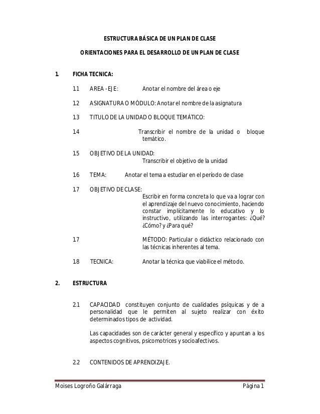 ESTRUCTURA BÁSICA DE UN PLAN DE CLASE ORIENTACIONES PARA EL DESARROLLO DE UN PLAN DE CLASE  1.  FICHA TECNICA: 1.1  AREA -...