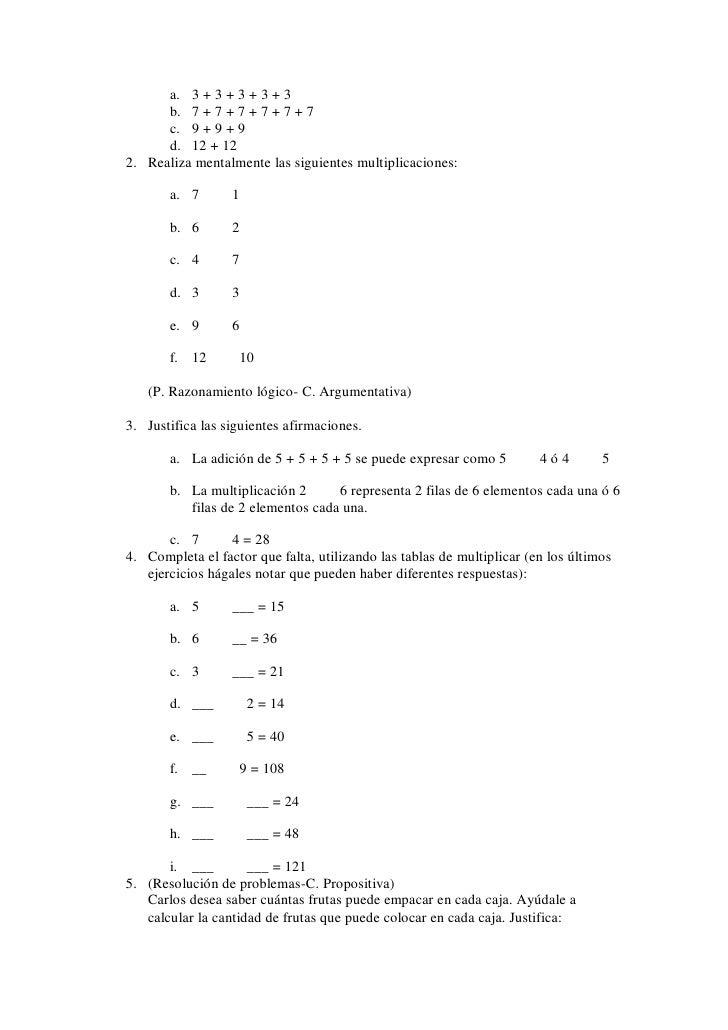 Plan de clase tablas de multiplicar