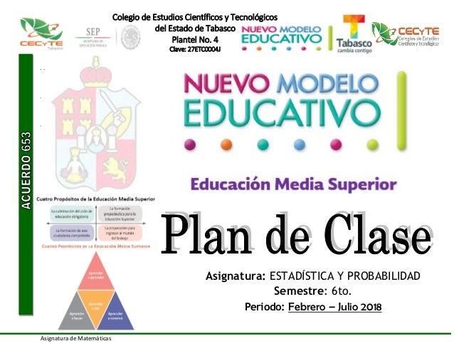 Plan de clase estadistica y probabilidad 2018