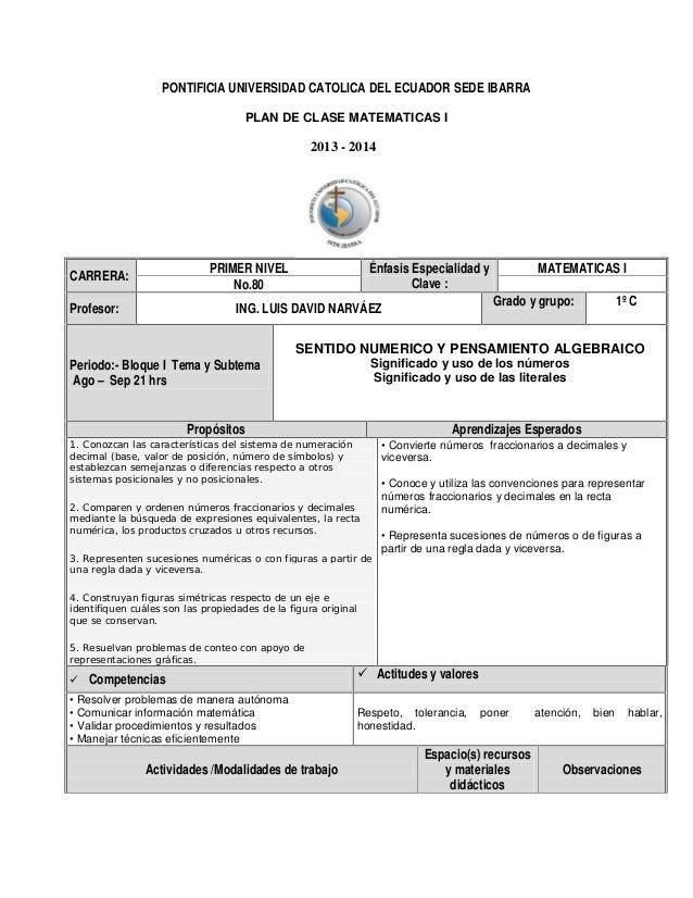 PONTIFICIA UNIVERSIDAD CATOLICA DEL ECUADOR SEDE IBARRA PLAN DE CLASE MATEMATICAS I  2013 - 2014  PRIMER NIVEL No.80  CARR...