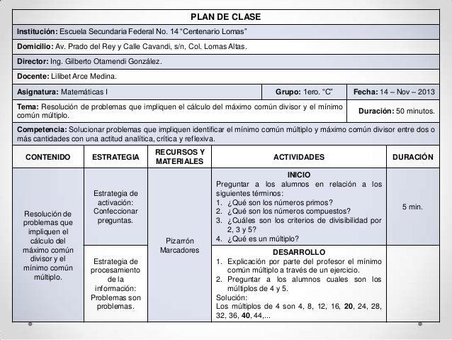 Plan de clase mcm y mcd
