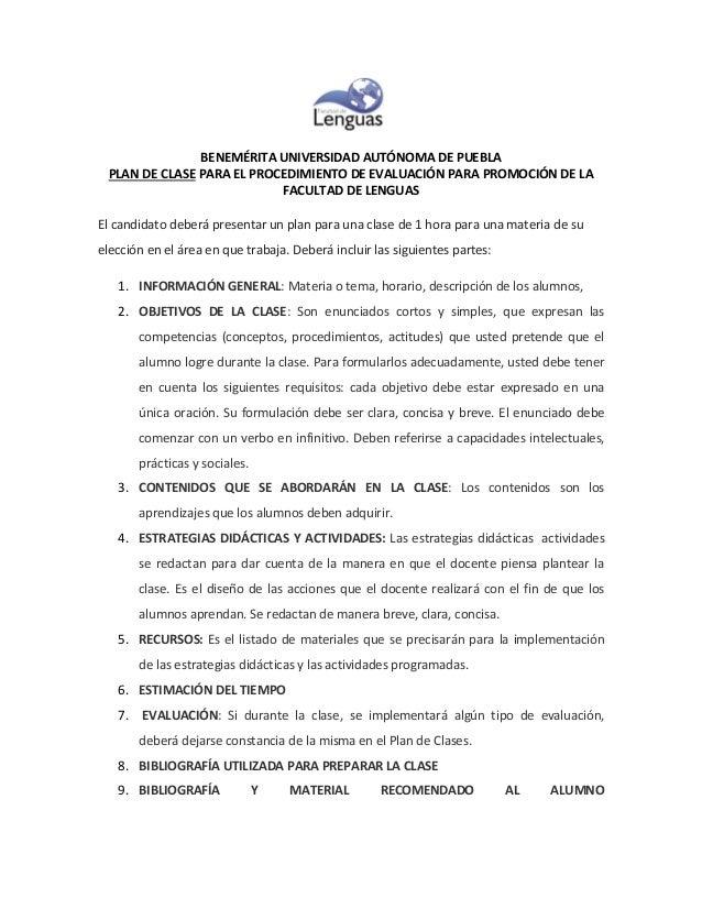 BENEMÉRITA UNIVERSIDAD AUTÓNOMA DE PUEBLA PLAN DE CLASE PARA EL PROCEDIMIENTO DE EVALUACIÓN PARA PROMOCIÓN DE LA FACULTAD ...