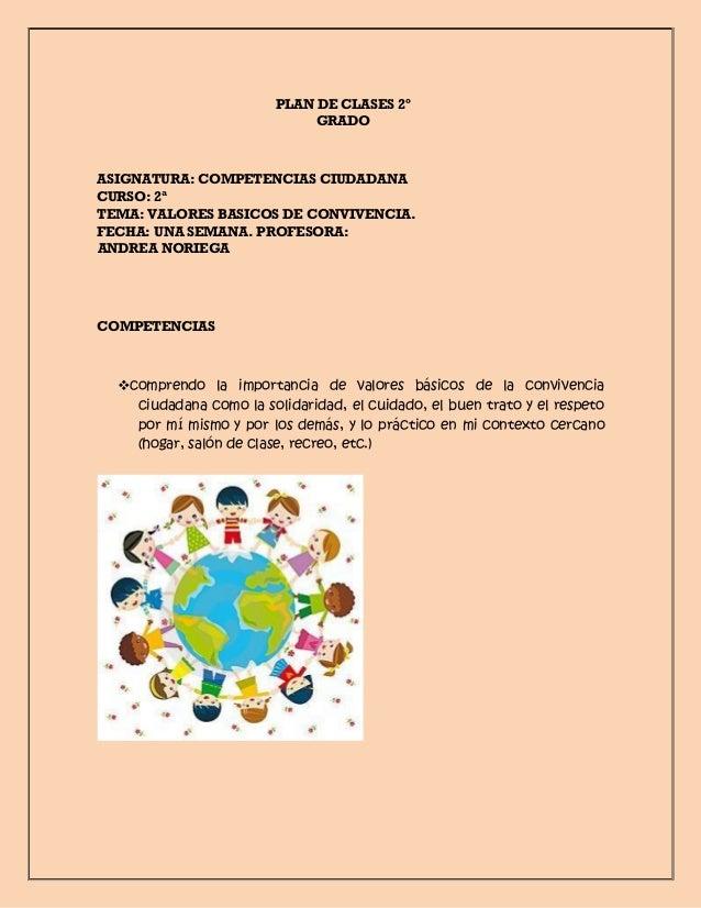PLAN DE CLASES 2º GRADO ASIGNATURA: COMPETENCIAS CIUDADANA CURSO: 2ª TEMA: VALORES BASICOS DE CONVIVENCIA. FECHA: UNA SEMA...