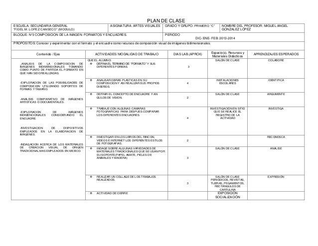 Plan de clases artes for Actividades para el salon de clases