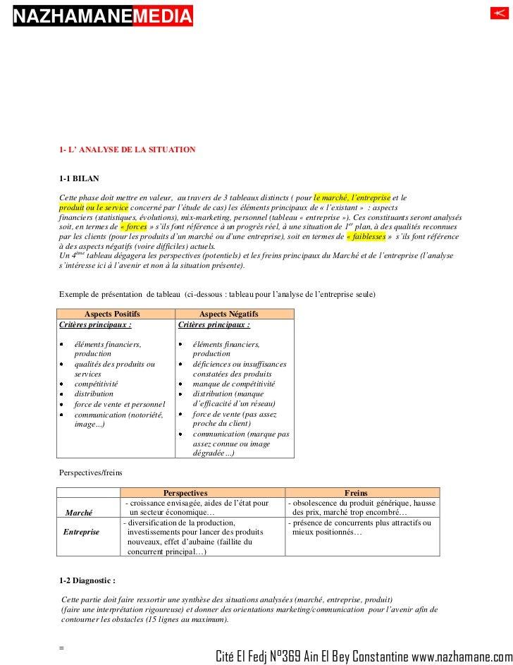 NAZHAMANEMEDIA   1- L' ANALYSE DE LA SITUATION   1-1 BILAN   Cette phase doit mettre en valeur, au travers de 3 tableaux d...