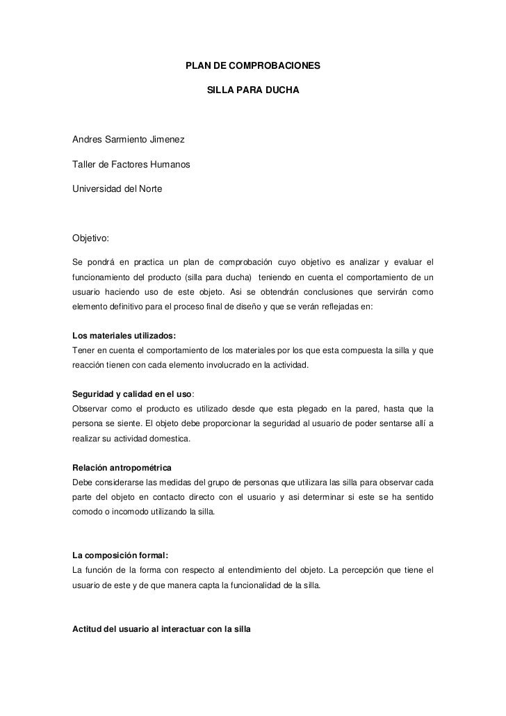 PLAN DE COMPROBACIONES                                    SILLA PARA DUCHAAndres Sarmiento JimenezTaller de Factores Human...