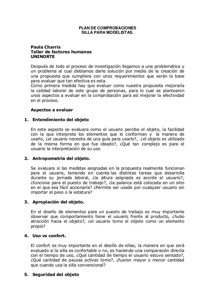 PLAN DE COMPROBACIONES                           SILLA PARA MODELISTAS.  Paola Charris  Taller de factores humanos  UNINOR...