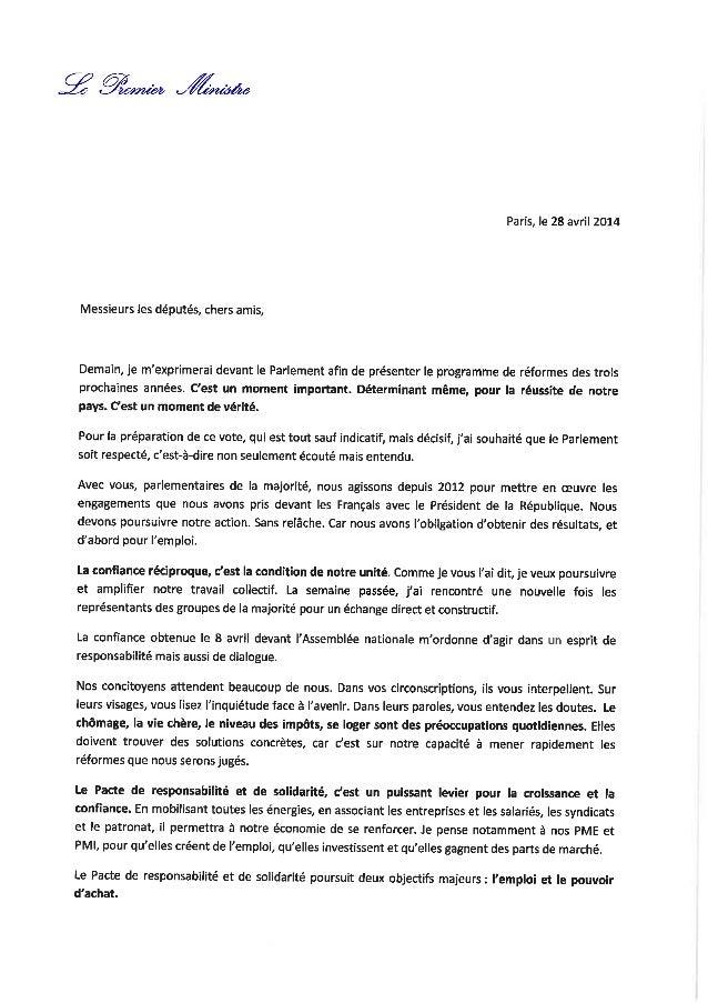 La lettre de Manuel Valls aux député