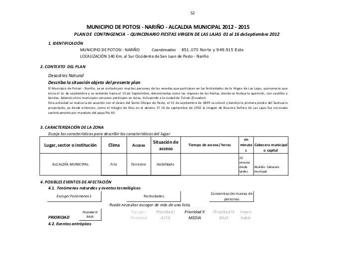 52                             MUNICIPIO DE POTOSI - NARIÑO - ALCALDIA MUNICIPAL 2012 - 2015                     PLAN DE C...