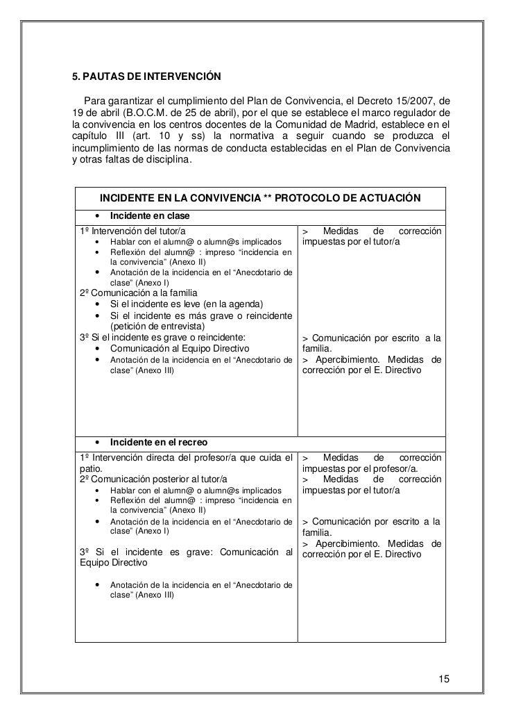 5. PAUTAS DE INTERVENCIÓN   Para garantizar el cumplimiento del Plan de Convivencia, el Decreto 15/2007, de19 de abril (B....