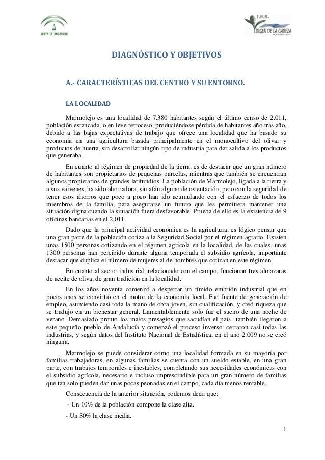 DIAGNÓSTICO Y OBJETIVOS A.- CARACTERÍSTICAS DEL CENTRO Y SU ENTORNO. LA LOCALIDAD Marmolejo es una localidad de 7.380 habi...