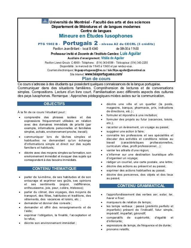 Université de Montréal - Faculté des arts et des sciences                         Département de littératures et de langue...