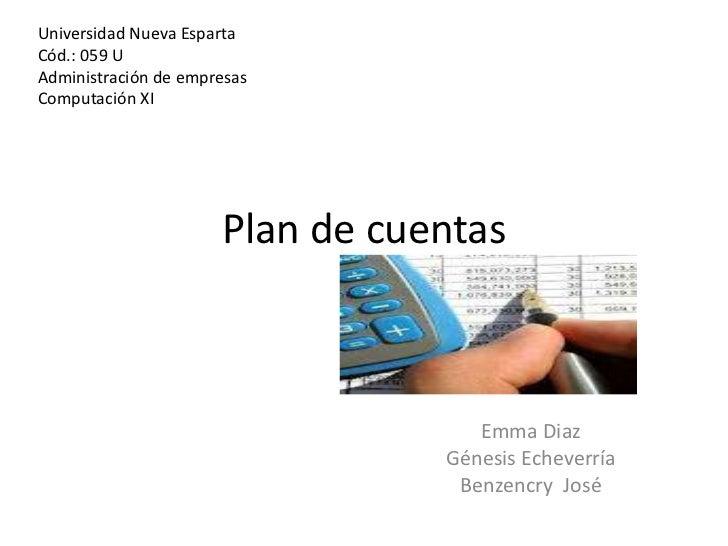 Universidad Nueva EspartaCód.: 059 UAdministración de empresasComputación XI                      Plan de cuentas         ...