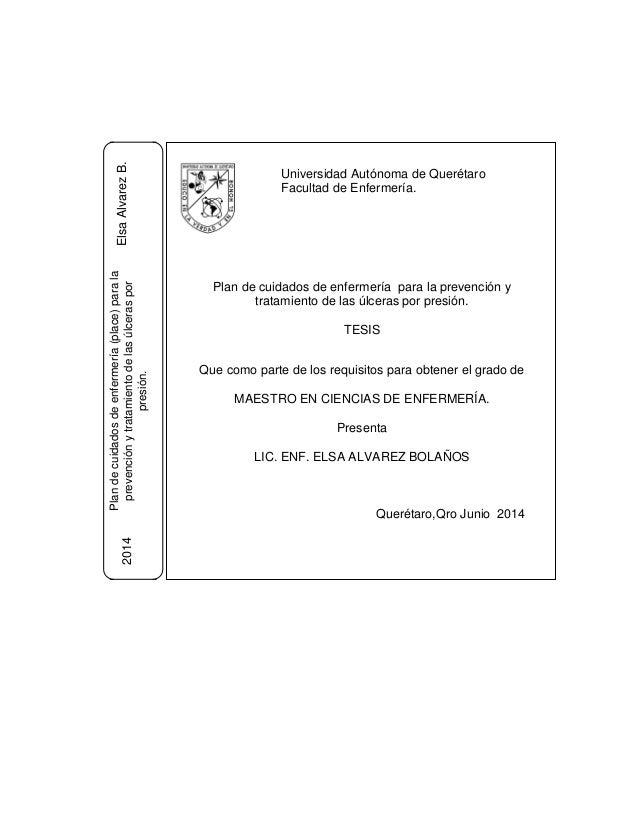 Universidad Autónoma de Querétaro Facultad de Enfermería. Plan de cuidados de enfermería para la prevención y tratamiento ...