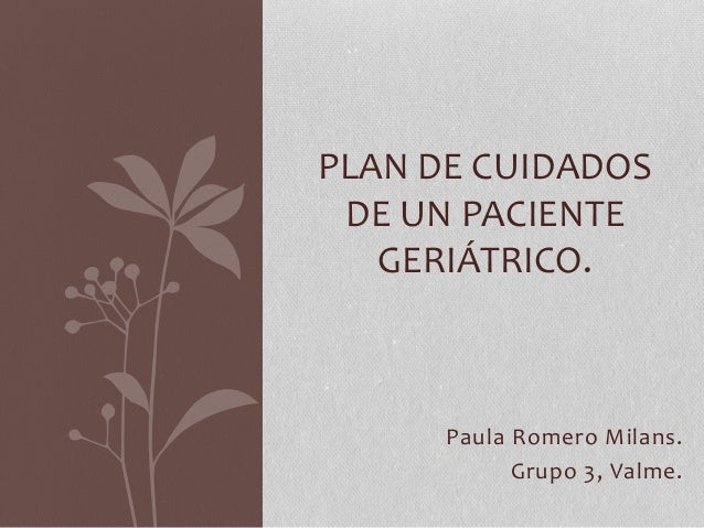Paula Romero Milans. Grupo 3, Valme. PLAN DE CUIDADOS DE UN PACIENTE GERIÁTRICO.