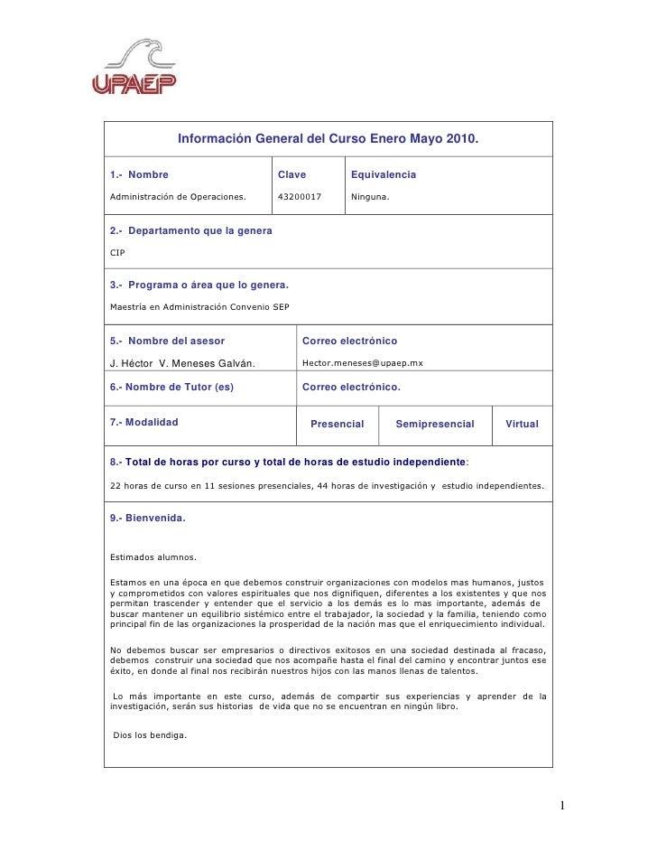 Información General del Curso Enero Mayo 2010.  1.- Nombre                             Clave            Equivalencia Admin...