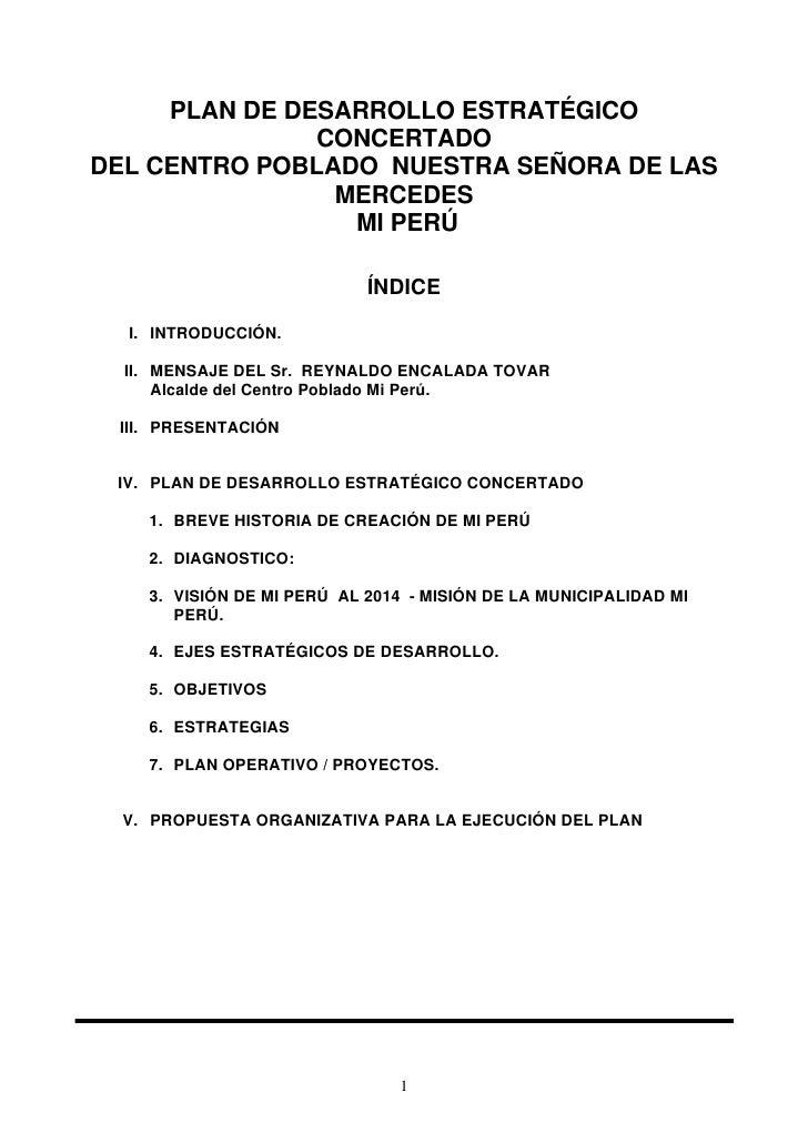PLAN DE DESARROLLO ESTRATÉGICO                CONCERTADO DEL CENTRO POBLADO NUESTRA SEÑORA DE LAS                 MERCEDES...