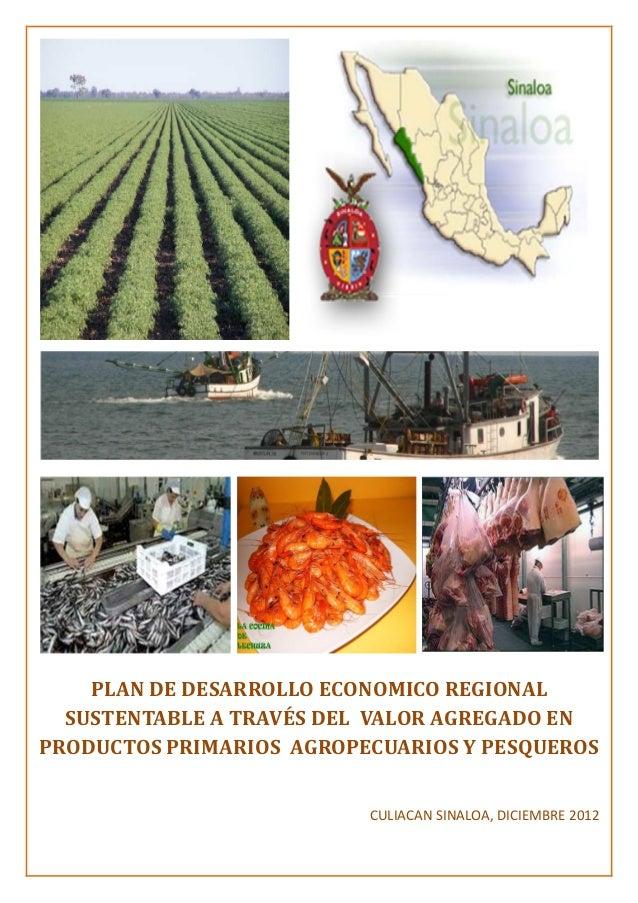 PLAN DE DESARROLLO ECONOMICO REGIONAL SUSTENTABLE A TRAVÉS DEL VALOR AGREGADO EN PRODUCTOS PRIMARIOS AGROPECUARIOS Y PESQU...