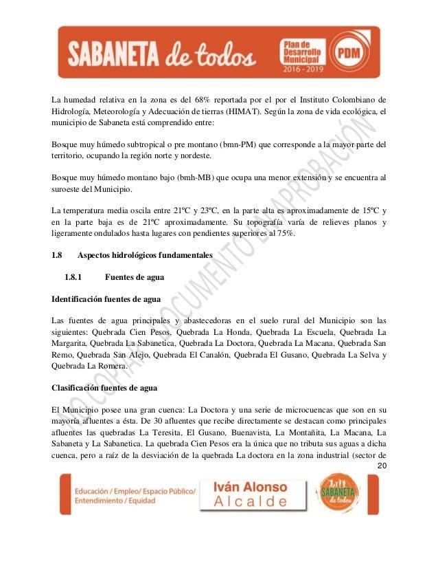 Ante proyecto plan de desarrollo municipal sabaneta for Bmn clausula suelo 2016