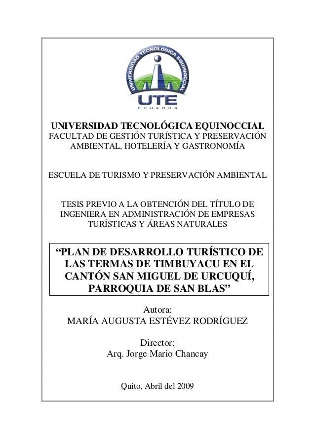 Plan de desarrollo turístico de las termas de timbuyacu