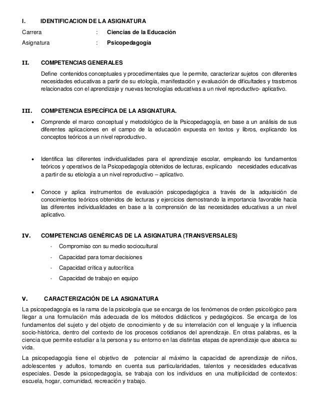 I.        IDENTIFICACION DE LA ASIGNATURACarrera                         :    Ciencias de la EducaciónAsignatura          ...