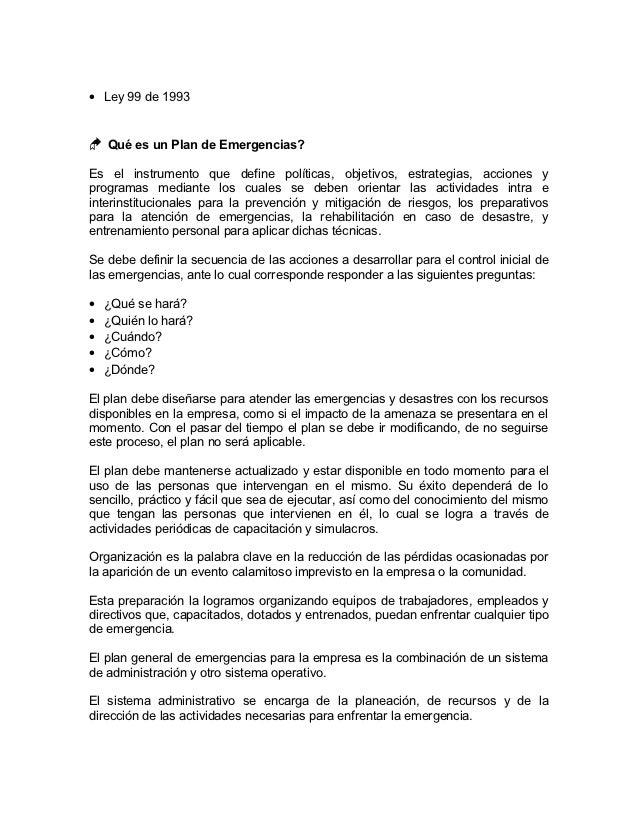 Modelo Plan de emergencia