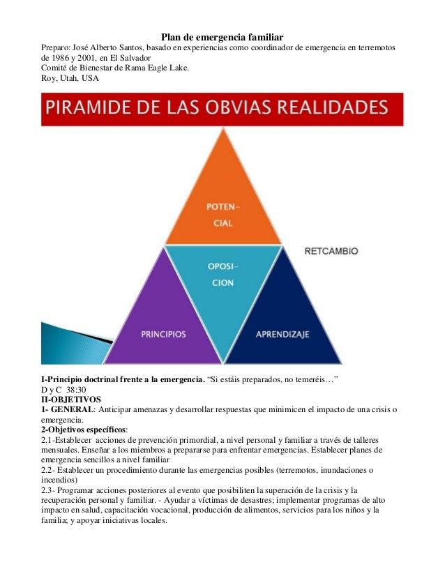 Plan de emergencia familiar Preparo: José Alberto Santos, basado en experiencias como coordinador de emergencia en terremo...
