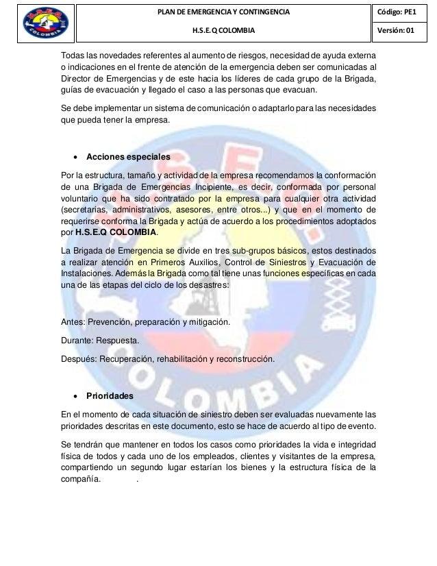Plan De Emergencia H S E Q Colombia