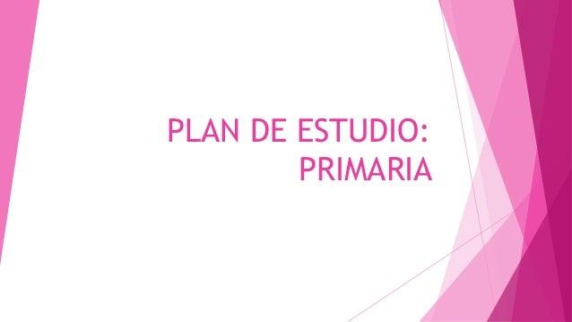 PLAN DE ESTUDIO: PRIMARIA