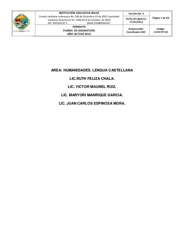 INSTITUCIÓN EDUCATIVA IRACÁ                             Versión No. 2Creada mediante ordenanza No. 588 de Diciembre 10 de ...