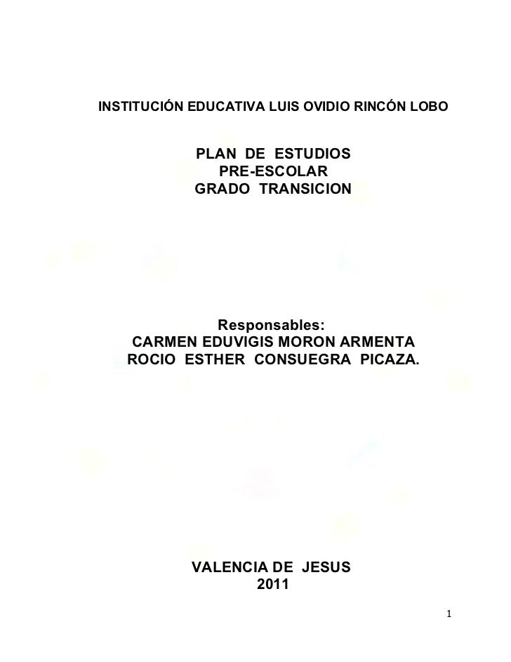 Plan de estudios preescolar valencia 2011