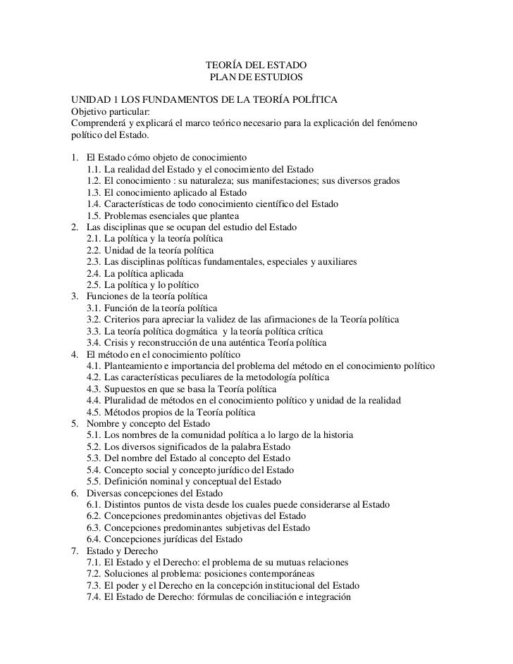TEORÍA DEL ESTADO<br />PLAN DE ESTUDIOS<br />UNIDAD 1 LOS FUNDAMENTOS DE LA TEORÍA POLÍTICA<br />Objetivo particular:<br /...
