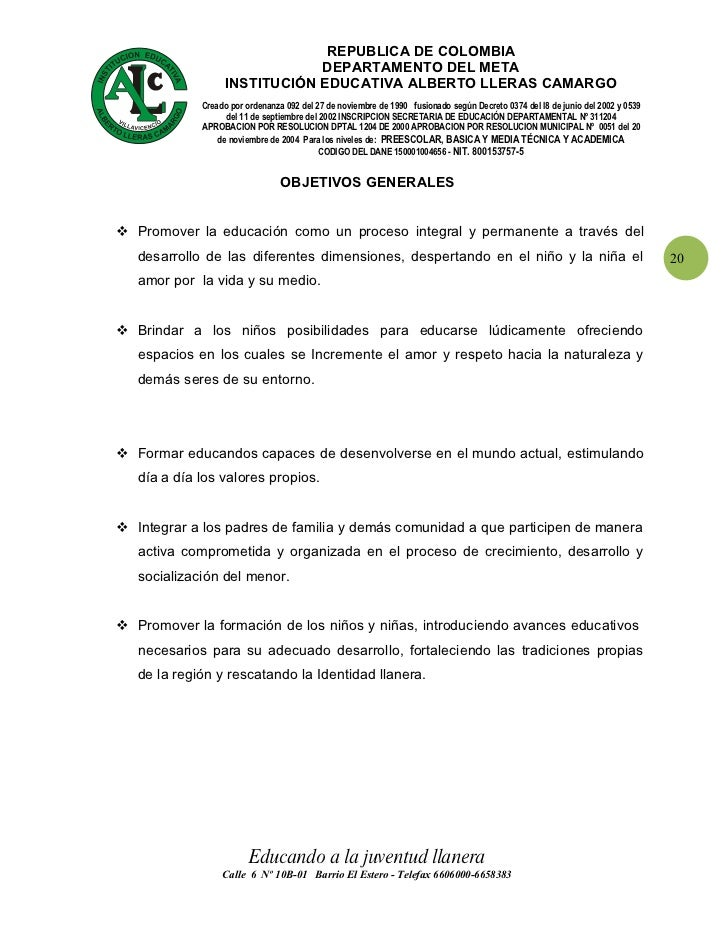 Plan de estudio transicion y preescolar Colegio Alberto lleras Camargo
