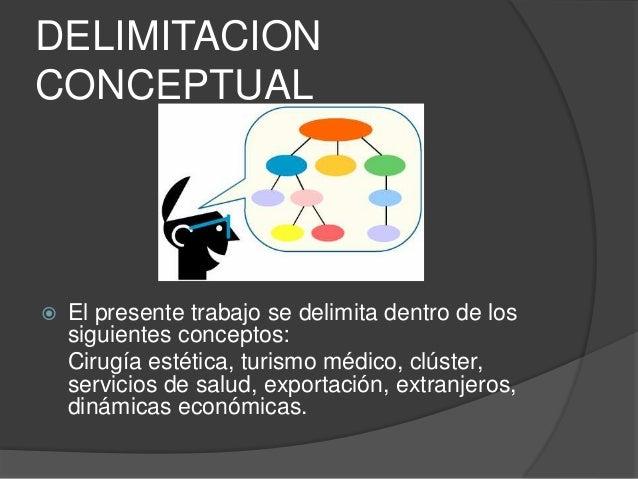 DELIMITACION  CONCEPTUAL   El presente trabajo se delimita dentro de los  siguientes conceptos:  Cirugía estética, turism...