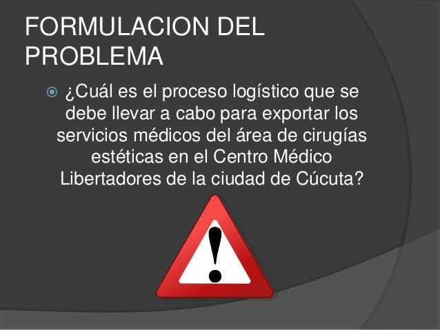 FORMULACION DEL  PROBLEMA   ¿Cuál es el proceso logístico que se  debe llevar a cabo para exportar los  servicios médicos...