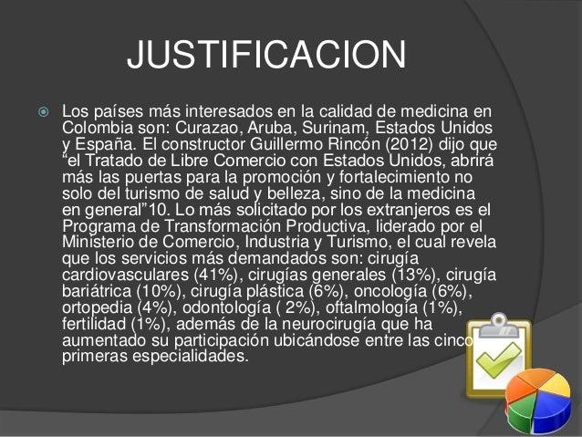 JUSTIFICACION   Los países más interesados en la calidad de medicina en  Colombia son: Curazao, Aruba, Surinam, Estados U...