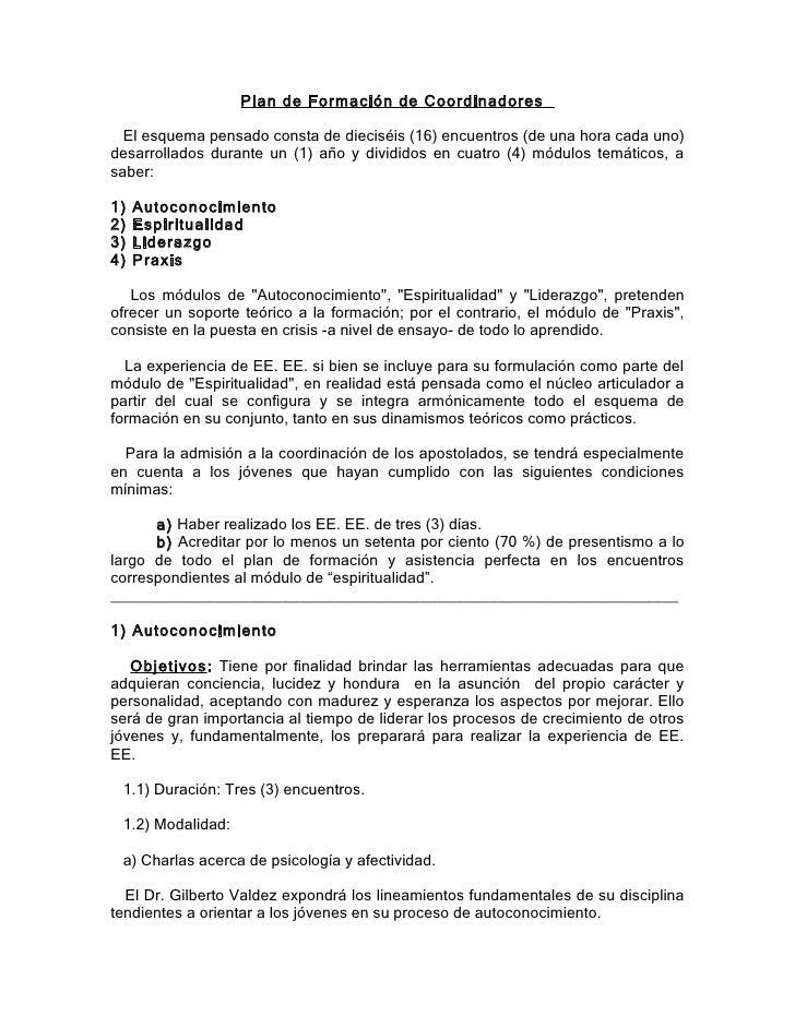 Plan de Formación de Coordinadores    El esquema pensado consta de dieciséis (16) encuentros (de una hora cada uno) desarr...