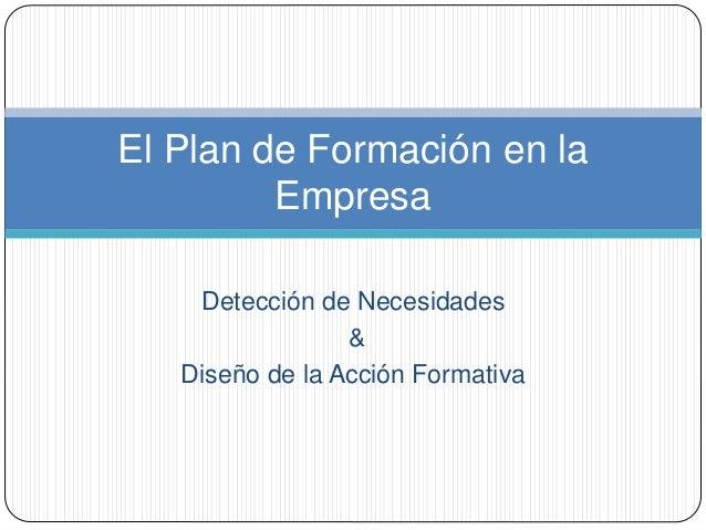 Detección de Necesidades & Diseño de la Acción Formativa El Plan de Formación en la Empresa