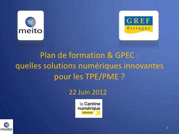 Plan de formation & GPEC :quelles solutions numériques innovantes           pour les TPE/PME ?              22 Juin 2012  ...