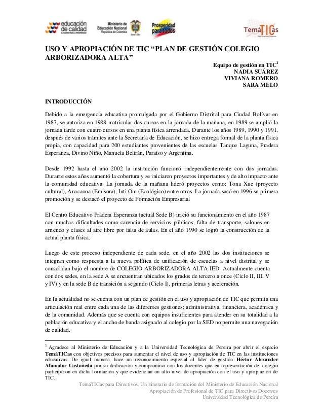 """USO Y APROPIACIÓN DE TIC """"PLAN DE GESTIÓN COLEGIOARBORIZADORA ALTA""""                                                       ..."""