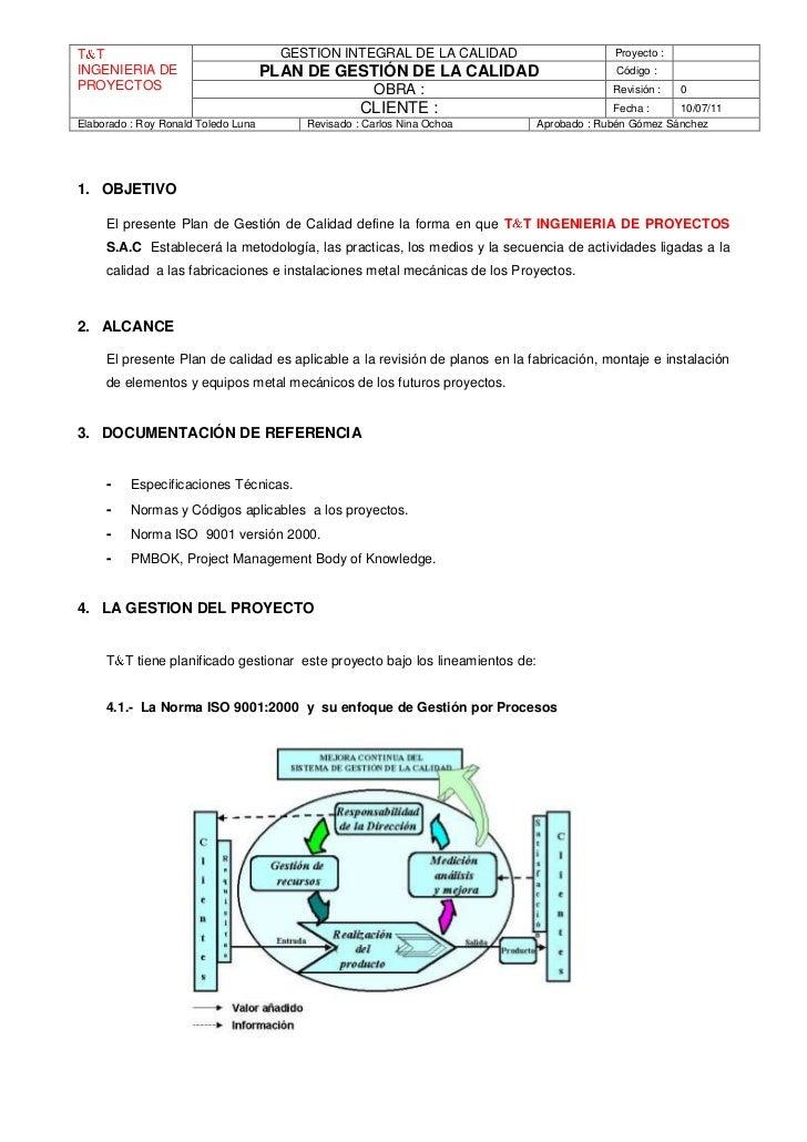 T T                                    GESTION INTEGRAL DE LA CALIDAD                       Proyecto :INGENIERIA DE       ...