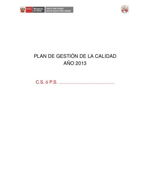 PLAN DE GESTIÓN DE LA CALIDAD AÑO 2013 C.S. ó P.S. ………………………………..