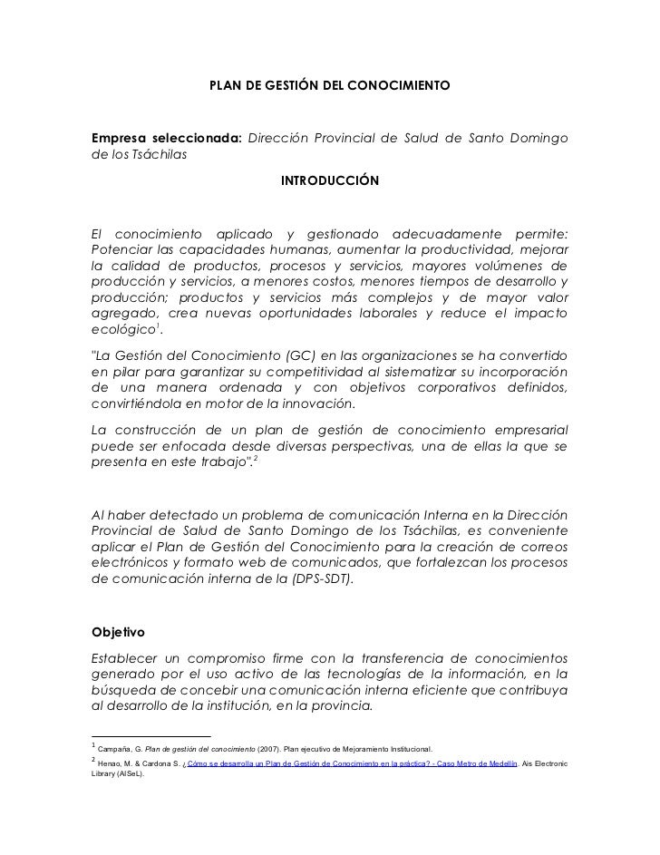 PLAN DE GESTIÓN DEL CONOCIMIENTOEmpresa seleccionada: Dirección Provincial de Salud de Santo Domingode los Tsáchilas      ...